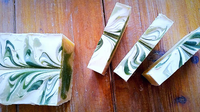 Hand poured botanical soap from K. Cherie!